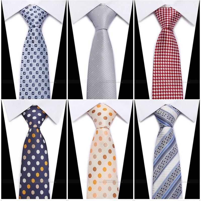 Factory 8CM Classic Men's Skinny Ties Polyester Silk Solid Polka Dot Narrow Jacquard Woven Slim Neckwear For Groomsman Neck Tie