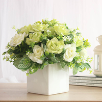 Artificia flower and vase Silk Artificial Flowers Peony Rose Simulation Flower For Home Vases Wedding Party Decoration