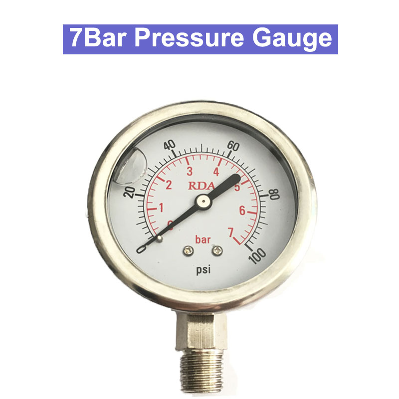 0-100Psi 7Bar/14 Bar/11bar Stainless Steel Liquid Filled Pressure Gauge 1/4 Thread Radia Air Oil Water Hydraulic Manometer