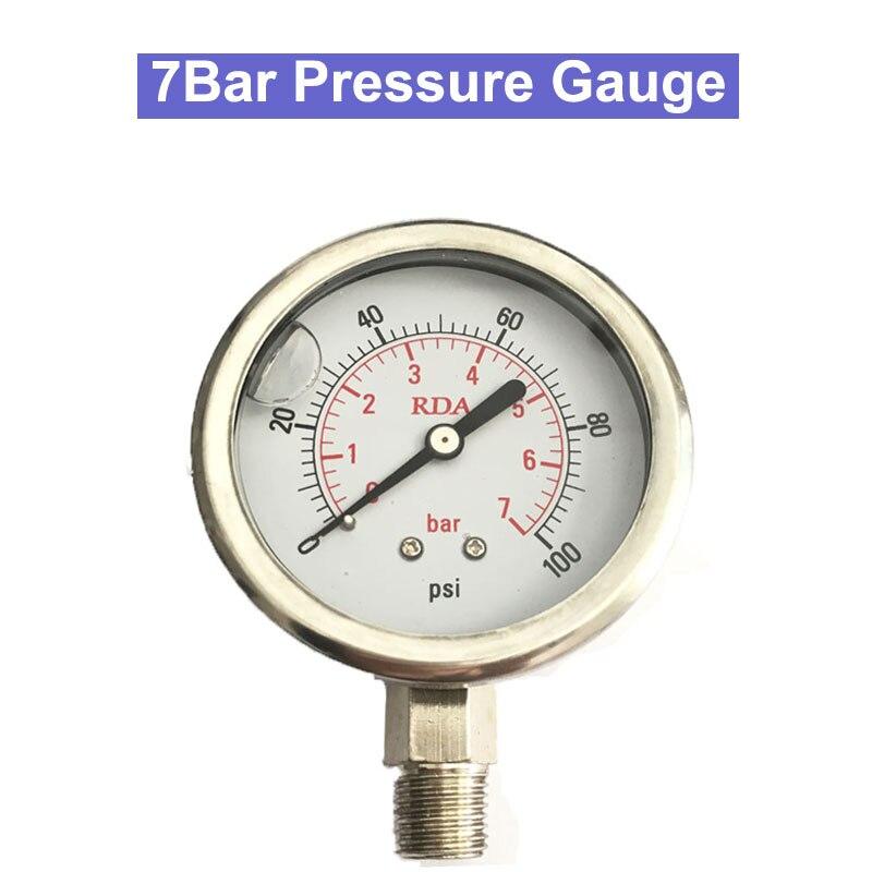 0-100Psi 7Bar/14 Bar/11bar manomètre rempli de liquide en acier inoxydable 1/4 filetage Radia Air huile eau manomètre hydraulique