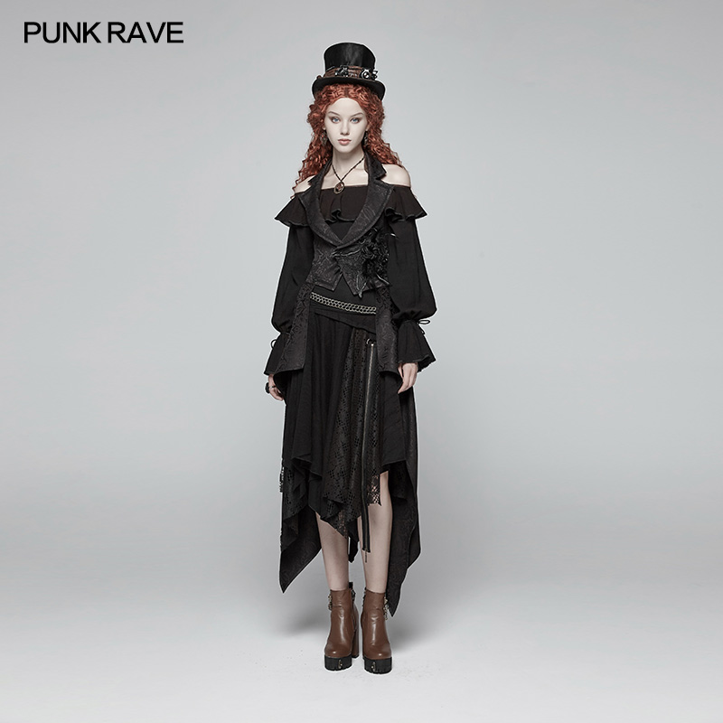 Punk Rave Women Jackets and Coats Gothic Detachable Long Vintage Fashion Backless Victorian Steage Performance Costumes