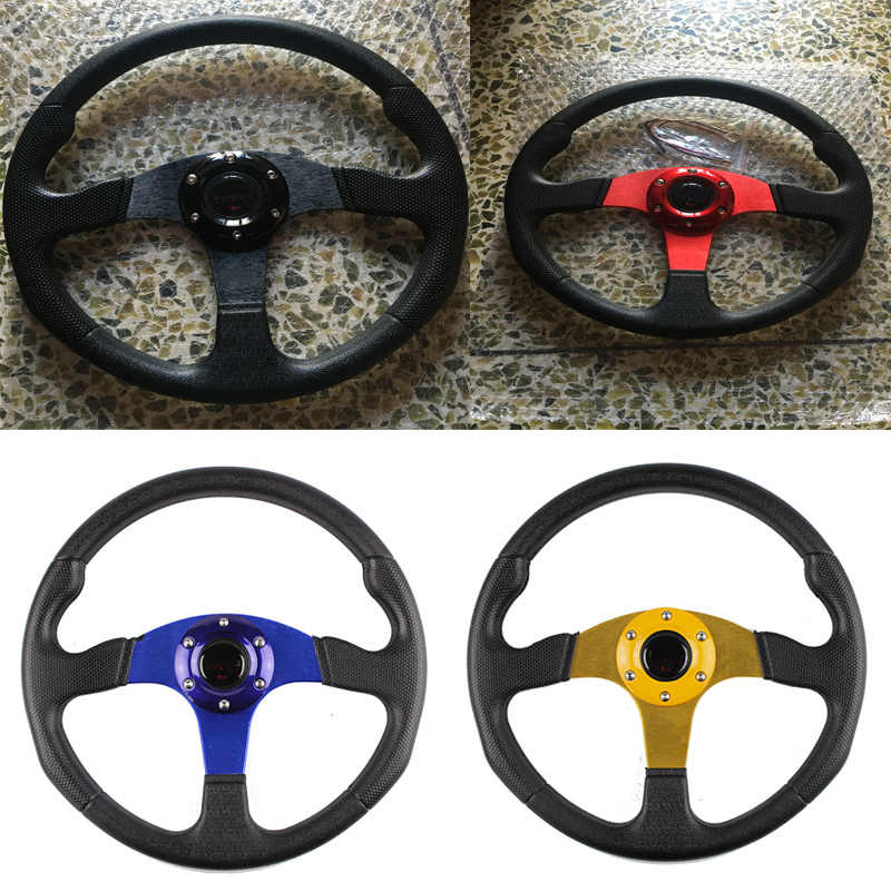 Universal Car Sport Steering Wheel Racing Game Type High Quality 14 inches 350MM Aluminum+PVC With Mo LOGO