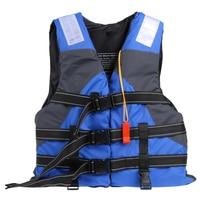 Blue Life Jacket Women Men Polyester Adult Jacket For Surfing Swimming Boating Ski Safe Adjustable Vest With Whistle One Size