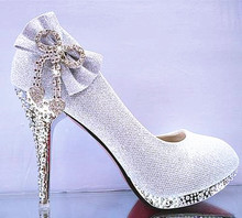 Women Shoes Pumps Silver Wedding Glitter Gorgeous Sexy Bridal 7CM Crystal High Heels Womens Woman