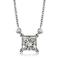 OFFICE OL STYLE LADY FASHION JEWELRY PRINCESS CUT CUBIC ZIRCONIA STONE ANTHENTIC 925 STERLING SILVER NECKLACE WEDDING BRIDE GIFT