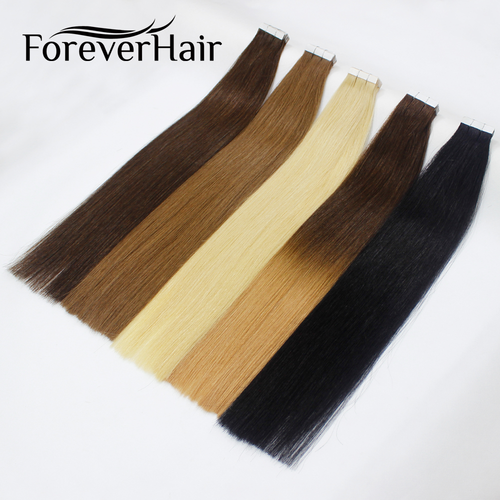 FOREVER HAIR 18inch Tape In Remy Human Hair Extension Full Cuticle Skin Weft Double Sided Adhesive Tape Blonde Color Dark Roots