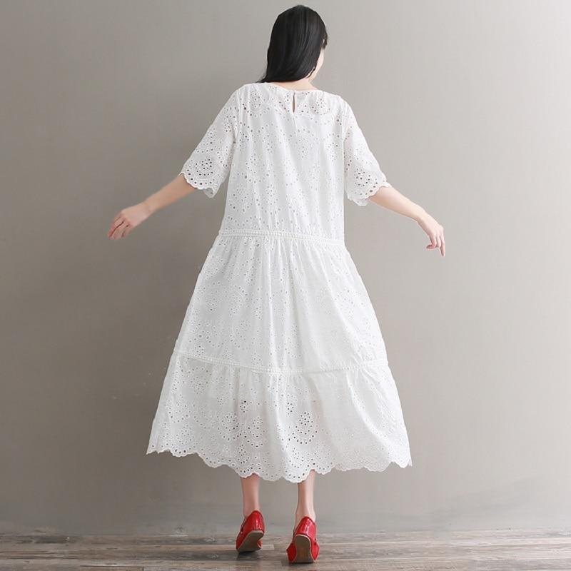 Mori Girl Embroidery Midi Dress Spring Summer Hollow Out White Cotton Dress Short Sleeve Elegant Party Vestido Longo
