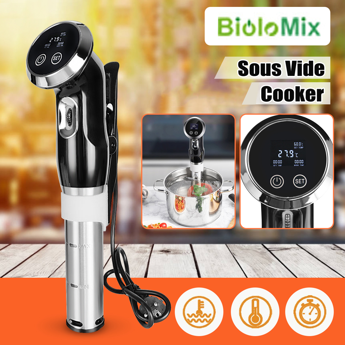 Bolomix Cooking Appliances Vacuum Slow Sous Vide Food Cooker Powerful Immersion Circulator LCD Digital Timer Stainless SteelBolomix Cooking Appliances Vacuum Slow Sous Vide Food Cooker Powerful Immersion Circulator LCD Digital Timer Stainless Steel