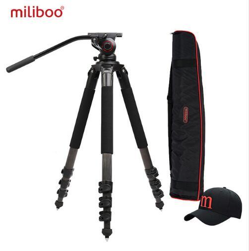 цена на Miliboo mtt702a/b portable carbon Fiber tripod for professional camcorder / video camera / DSLR tripod, with hydraulic ball head