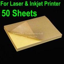 50 листов A4 пустая крафт-этикетка наклейка Бумага коричневая самоклеящаяся бумага для лазерного и струйного принтера
