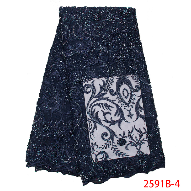 2019 Latest French Nigerian Laces Fabrics High Quality Tulle African Lace Fabric With Beads Sequins For Wedding KS2591B-4