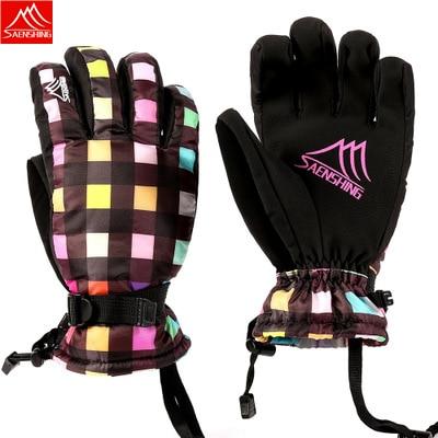 Sport & Unterhaltung Ski-handschuhe Ernst Saenshing Ski Handschuhe Warme Handschuhe Frauen Winter Winddicht Kalten Wasserdicht Gepolsterte Radfahren Farbe Raster Weibliche Ski Handschuhe