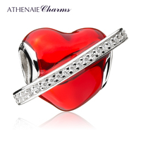 ATHENAIE 925 Sterling Silver Red Enamel In My Heart Love Knot Charm Beads Color Red
