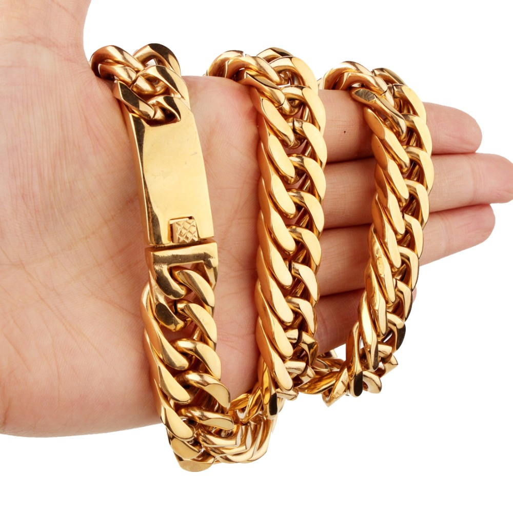 15mm 7-40inch Hipper Stainless Steel Silver/Gold/Black Punk Cuban Curb Chain Men's Boy's Necklace Or Bracelet Jewelry Xmas Gift