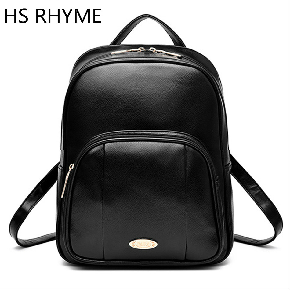 HS RHYME Attractive Women School Backpack Pu Leather Dos Fashion Mochila for Teenage Girl Female Casual