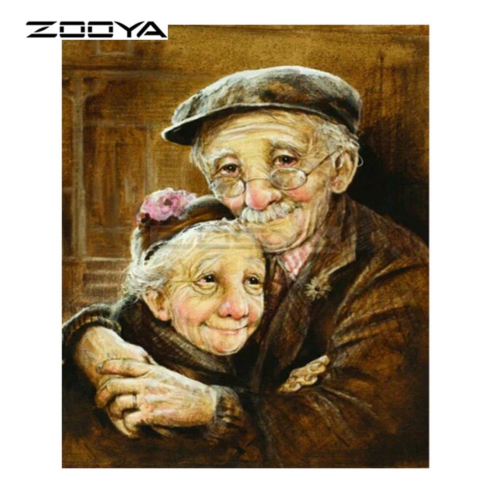 ZOOYA 5D DIY Diamond Embroidery Character Cartoon Elderly Couple Diamond Painting Cross Stitch Round Mosaic Decoration CJ1062