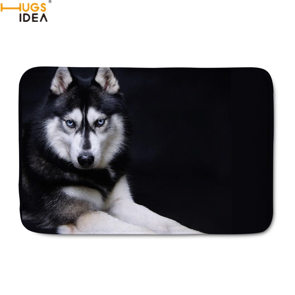 HUGSIDEA Cute 3D Animal Husky Print Doormats For Home Decor Livingroom/Bedroom Floor Mat Fashion Welcome Entrance Indoor Carpets