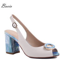 Bacia Sheep Skin Sandals 2017 New High Thick Heels Pumps Genuine Leather Spring Summer Buckle Strap