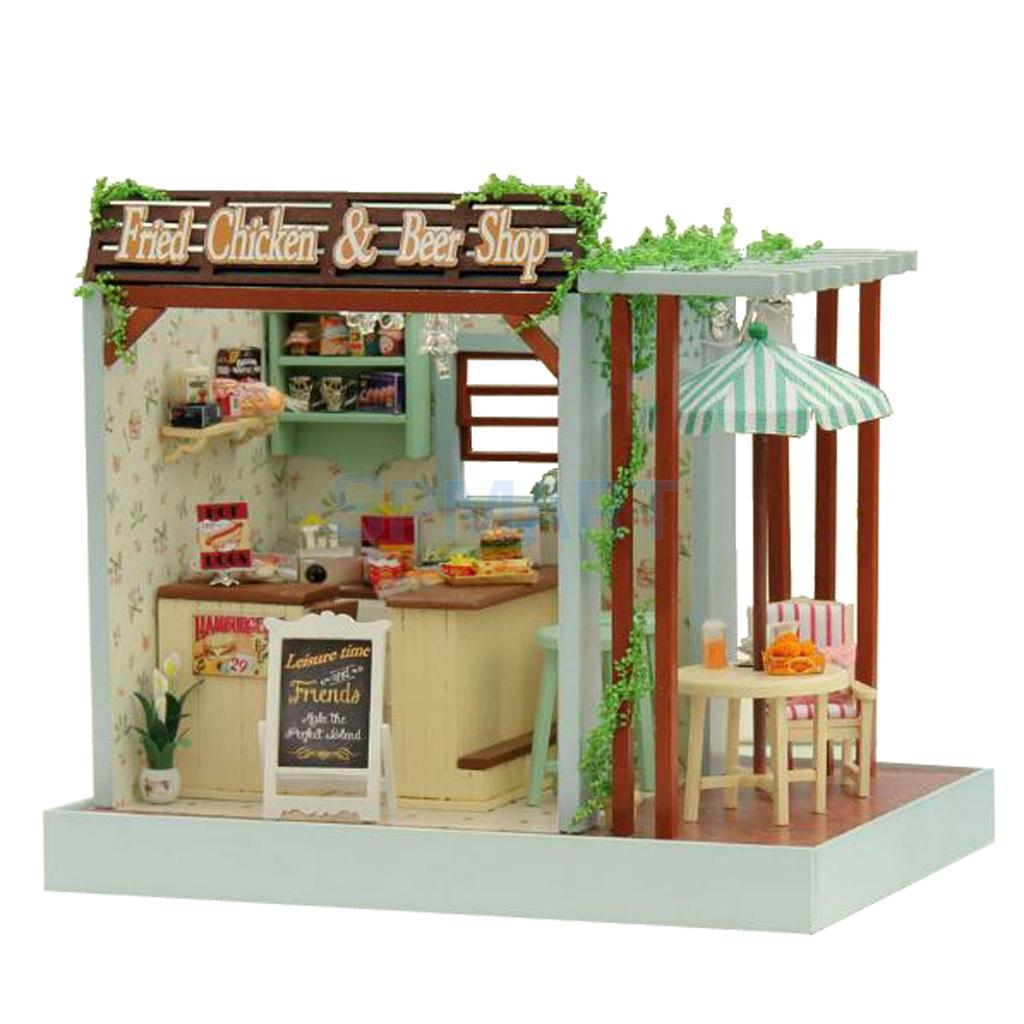 DIY Handicraft Miniature Dollhouse Furniture Toy Set with LED Light Home Ornament Kids Toy Gift Fried Chicken & Beer Shop