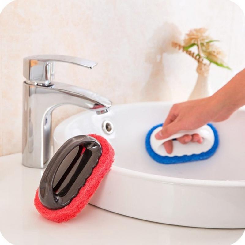 1PCS Basin BathTub Big Handle Scrubber Cleaner Deck Scrub Sponge Brush with Handle Magic Kitchen Bathroom Cleaning Washing Brush in Cleaning Brushes from Home Garden