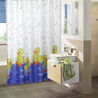 Duck Polyester Fabric Shower Curtain With Hooks Waterproof Mildew Resistant Bath Curtain High Quality Durable Bathroom Curtain