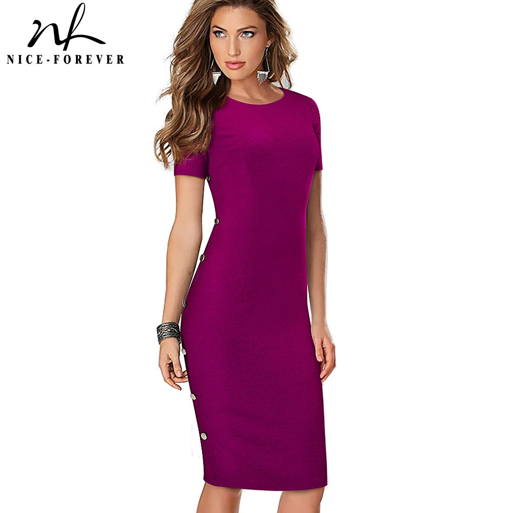Nice-forever Elegant Vintage Solid Color Round Neck Work Button Vestidos Business Party Sheath Office Women Bodycon Dress B499
