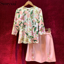 Svoryxiu Autumn Runway lily Flower Print Skirt Suit Women's 3/4 Sleeve Tops + Custom Button Pink Skirts Elegant Two Piece Set