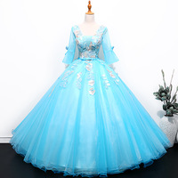Sky Blue Long Sleeve Elegant Ball Gown Girls Quinceanera Dresses with Lace Appliques Vestidos De 15 Anos Sweet 16 Dresses