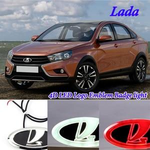 Image 2 - Car Styling 4D Cold Light LED Emblem Logo Light for Lada Granta Vesta Xray Largus VU 4X4 Niva Kalina Priora Car Accessories