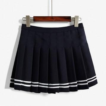 Корейская Летняя мода, юбка с высокой талией, бальная, британский стиль, кавайная, винтажная, короткая юбка в складку, юбки в стиле Харадзюку для женщин - Цвет: Navy blue