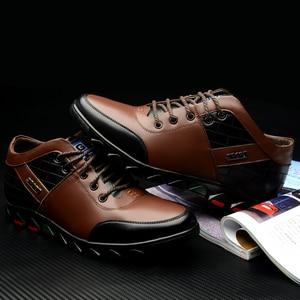 Image 5 - Кроссовки Misalwa мужские увеличивающие рост, на шнуровке, Кожаные сникерсы, зимняя плюшевая повседневная обувь, на осень