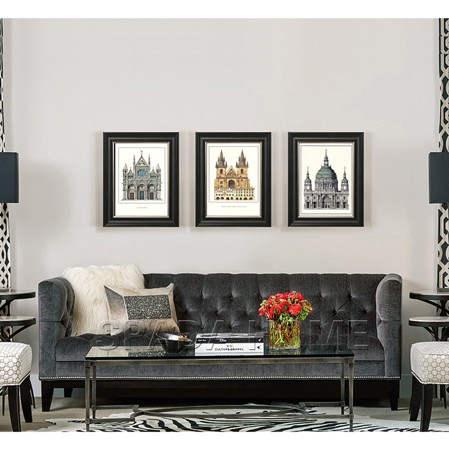 American modern living room - Delicate European Style Ps Picture Frame American Modern Decorative Painting Architectural Triple Living Room Decorative 1pcs In Frame From Home Garden On