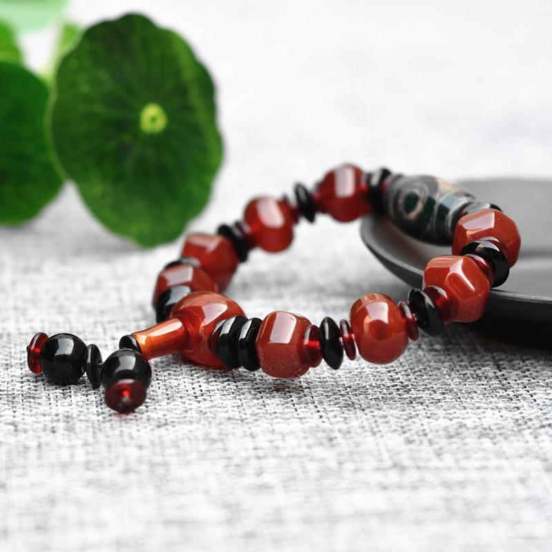 Natural Chalcedony Dzi Buddha Bead Bracelet
