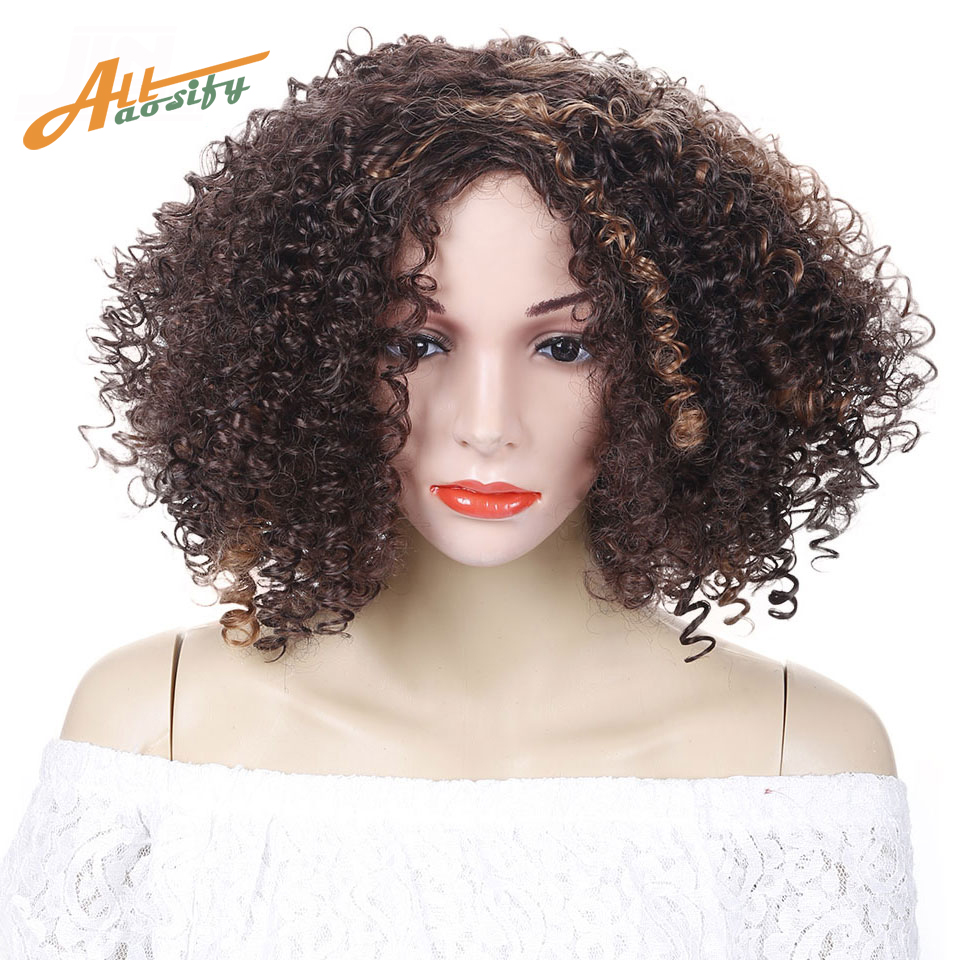 Allaosify Brown Synthetic Curly Wigs For Women 9 Colors