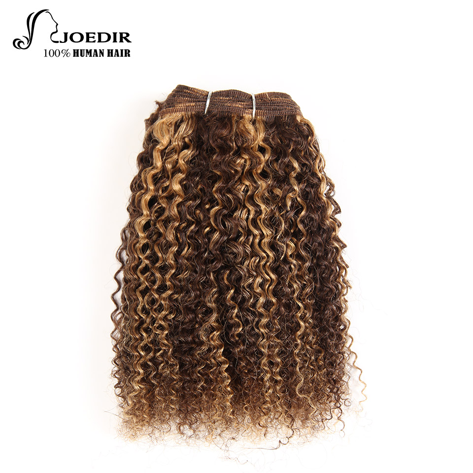 Joedir Brazilian Remy Human Hair Weave Pre-colored Natural Afro Kinky Wave #P1B 30 P4-27 Piano Color Auburn Free Shipping