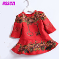 2017 new girls dresses Girl red national wind dress autumn spring plus cotton high-end brand printing free shipping full sleeve