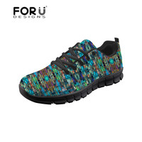 FORUDESIGNS Women Casual Shoes The Mad Scientist's Glass Pattern Sneakers for Female Comfortable Mesh Shoes Platform Ladies 2018