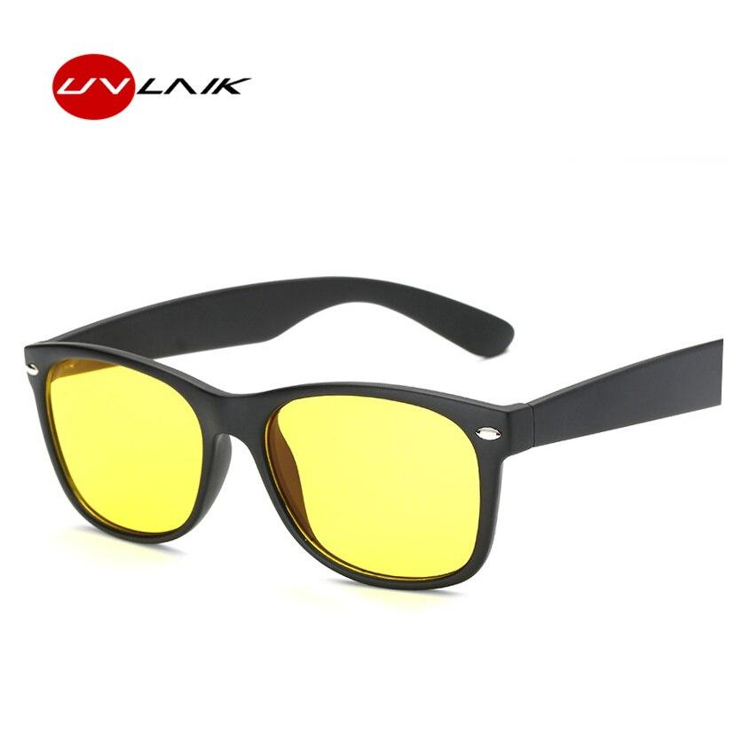 3472ce3601 UVLAIK Yellow Night Vision Sunglasses Men Women Driving Driver Sunglass AC  Lens PC Frame Eyeglasses Rivet