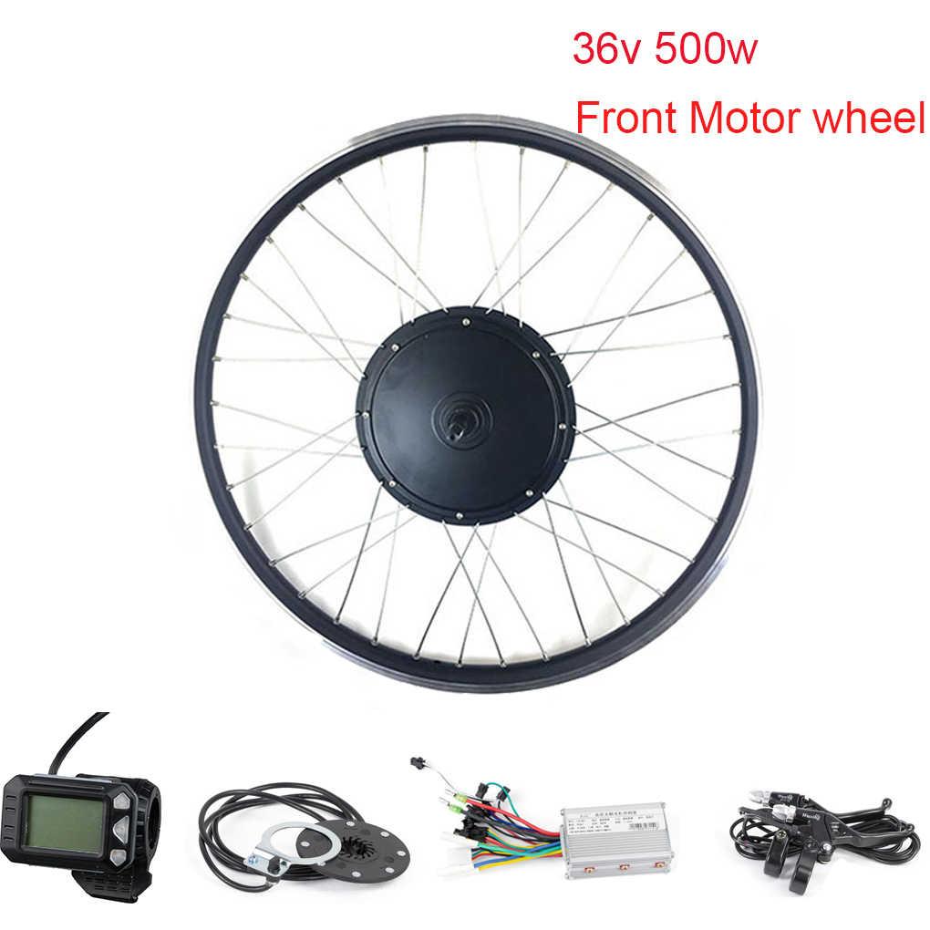 Moteurs électriques Kit de Conversion de vélo électrique moteur pour vélo 500W moyeu moteur avant 24 pouces sans brosse contrôleur Pas capteur