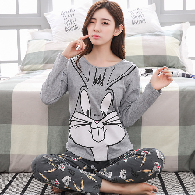 Autumn Winter Striped Pyjamas Cotton Pj Pajamas Set Women Cartoon Sleepwear Female Pajama Sets Pijamas Girl Pyjamas Home Clothes