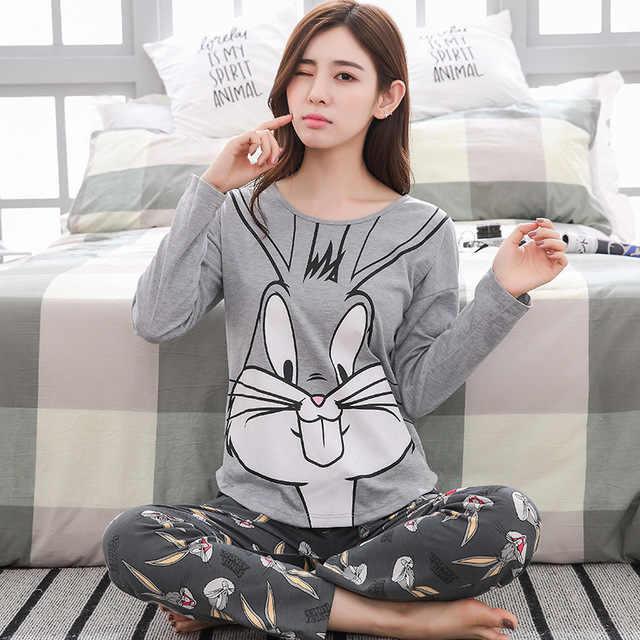 Autumn Winter Striped Pyjamas Cotton Pj Pajamas Set Women Cartoon Sleepwear  Female Pajama Sets Pijamas Girl 0e374ed16