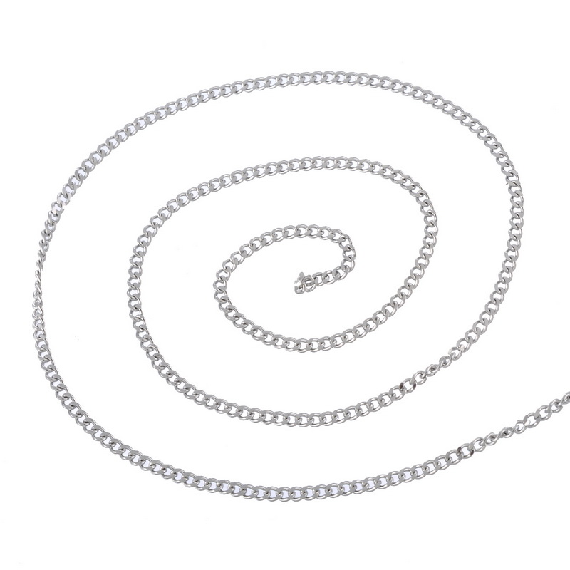 LASPERAL 2M Stainless Steel Cuban Curb Chain Necklace Chain Men Women DIY Jewelry Findings Components Bright Silver Tone 3x2.2mm