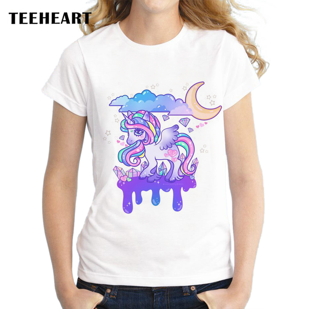 TEEHEART Harajuku T-shirt Women Tops Rainbow Pony Unicorn Print Casual Funny T Shirts Tee Shirt Loose Short Sleeve px907