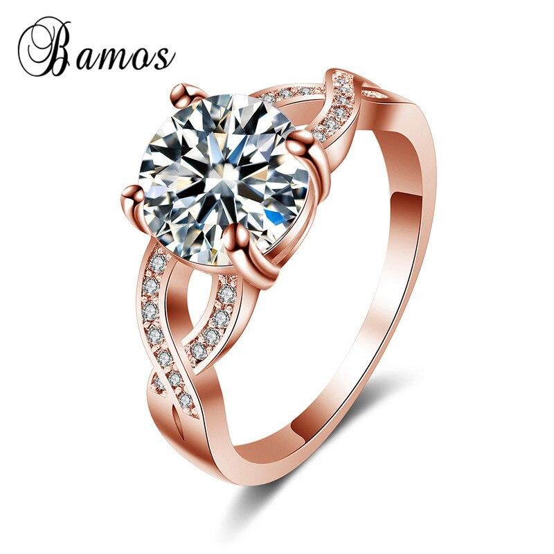 Бамос модные белые/rose gold filled обещание Кольца для Для женщин простой крест cockytail палец кольцо Роскошный камень ювелирные изделия