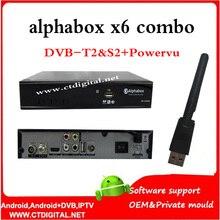 Freesat v7 combo powervu alphabox x6 combo + wifi dongle DVB-S2 DVB-T2 hd receptor de satélite soporte USB wifi 3G alphabox x4