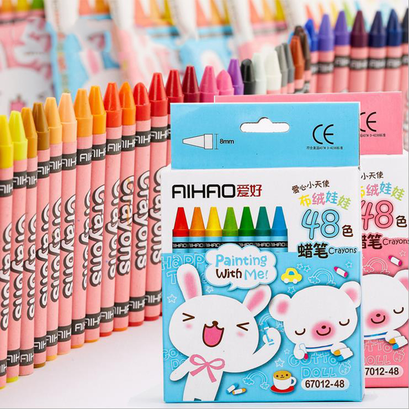 Creative Cartoon 48 Colors Non-Toxic Crayon Oil Painting Stick Kids Children Student Pastel Pencils For Drawing