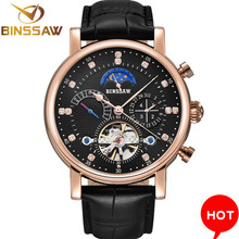 Men Automatic Mechanical Wrist Watch Luxury Brand Fashion  Sports Leather Moon Phase Calendar Week Watches  Relogio Masculino carnival mechanical men watch phase moon leather strap double calendar stainless steel multi function clock relogio masculino