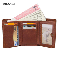WERICHEST RFID Wallet Hasp Leisure Genuine Leather Men Wallet Antitheft Scanning Leather Wallet With Zipper Coin