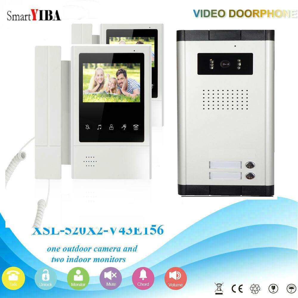SmartYIBA 2 Units 4.3'' LCD Wired Video Door Phone Visual Video Intercom Speakerphone Intercom System With Waterproof IR Camera