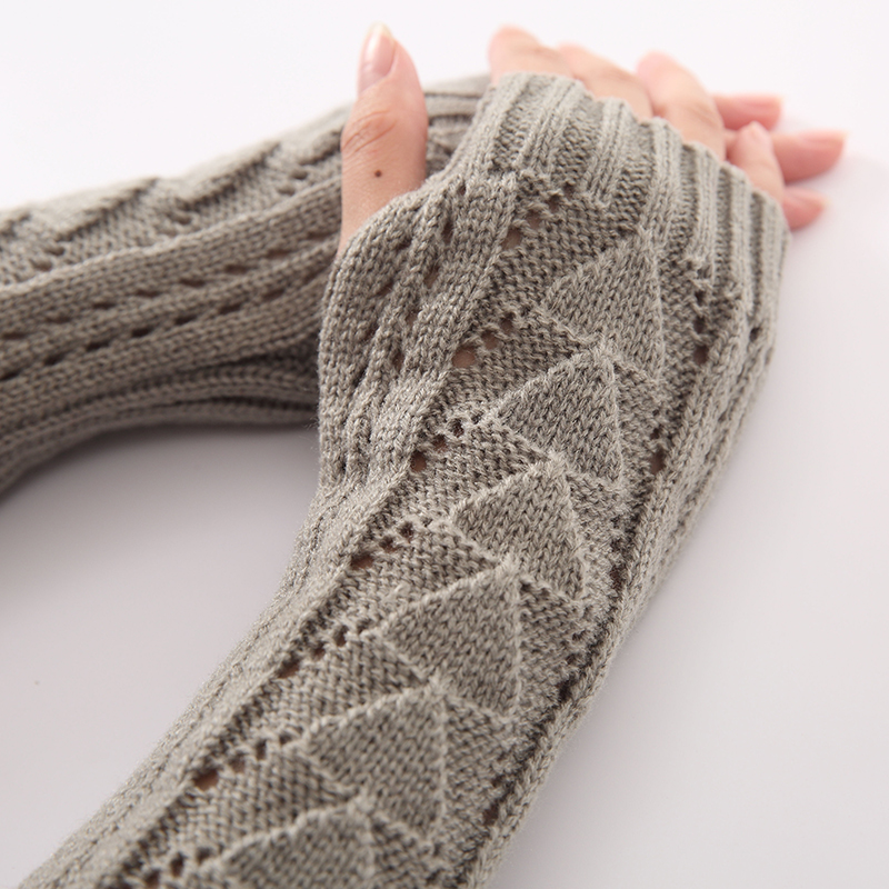 New Women Triangle Hollow Spring Autumn Winter Arm Warmers Sleeves Arms For Women Girls Solid Color Cotton Fingerless Gloves